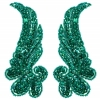 Motif Sequin/beads 15cmx6.5cm Wing Shape 2Pc Teal Hologram